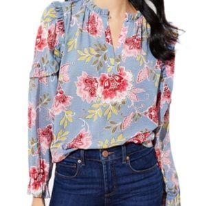LOFT Ruffle Split Neck Floral Print Blouse Size L